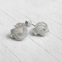 Sterling Silver Knot Tennis Earrings
